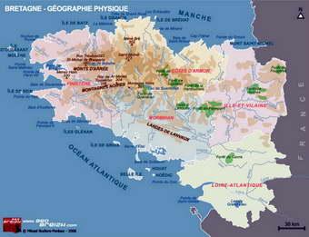 Carte Bretagne Iles.Bretagne Breizh Finistere Monts D Arree Presqu Ile De