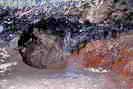 Mines d'argent du Fournel - Galerie de circulation médiévale, h = 1,20 m - Traînées de suies au plafond